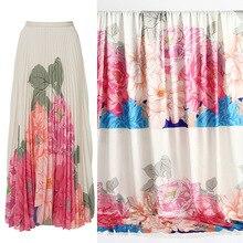 100x140cm Europe and America Big Flower Printed Imitated Silk Satin Fabric For Woman Blouse Dress Pajamas Tela En tissu Sewing