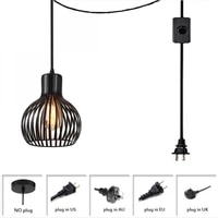 plug in industrial ceiling light pendant light with long hanging cord and push button switch used for kitchen island