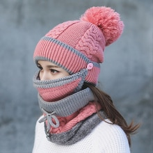 New Fashion Autumn Winter Women's Hat Caps Knitted Warm Scarf Windproof Multi Functional Hat Scarf S