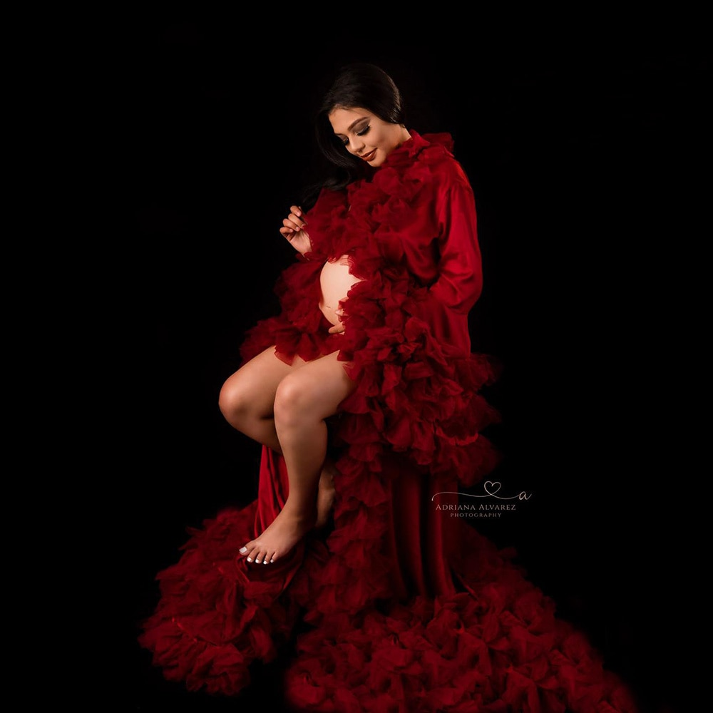 Don&Judy Long Sleeve Tulle Maternity Dress Photography Dress Party Gown for Pregnant Woman Prom Dresses Custom Size enlarge