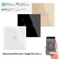 Interrupteur mural tactile WiFi avec verre  220V  1 2 3 4 gangs  Tuya  pour application Smart Life  Assistant vocal  fonctionne avec Google Home  Alexa  IFTTT
