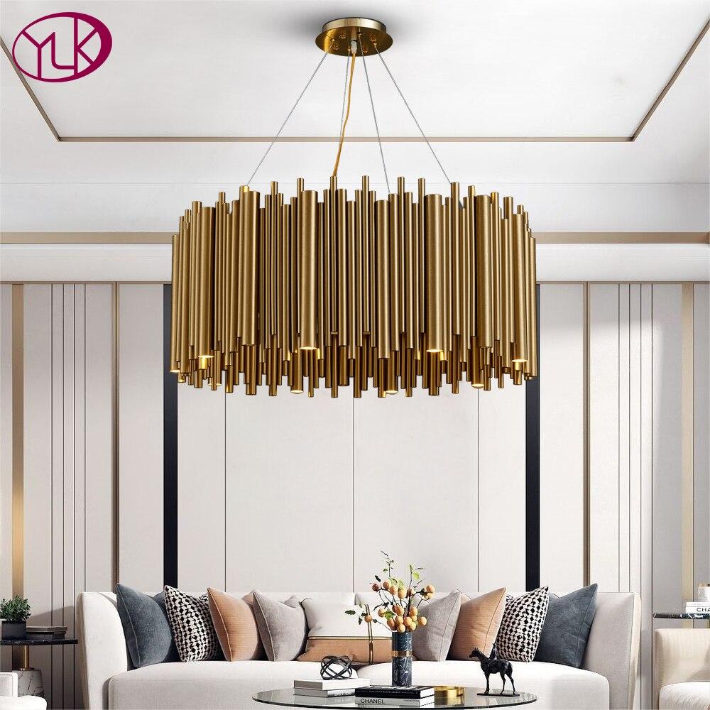 Youlaike-ثريا دائرية من الفولاذ المقاوم للصدأ باللون الذهبي ، تصميم حديث فاخر ، إضاءة داخلية ، إضاءة سقف زخرفية ، مثالية لغرفة المعيشة