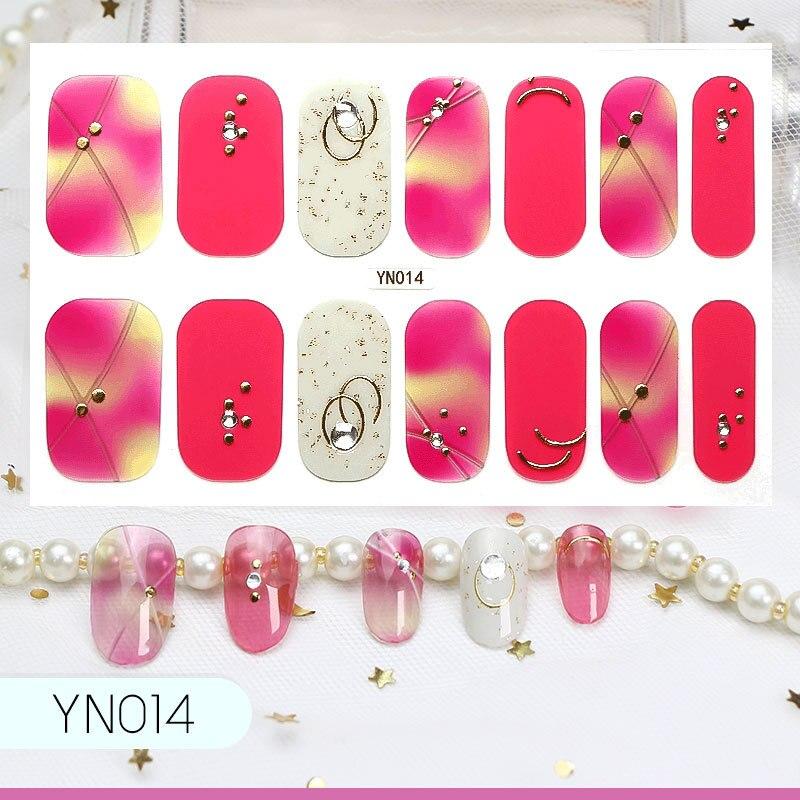 Lamemoria 14tips/ 5D nail art stickers gradient color rhinestone uña anillo de decoración y flor tipo autoadhesivo DIY manicura