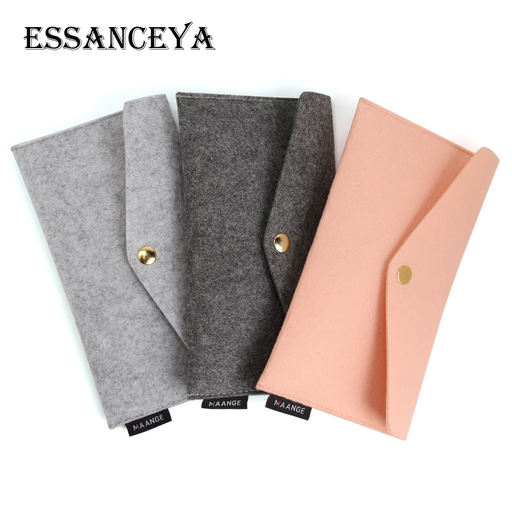ESSANCEYA 1 Pcs Makeup Brush Bag Soft Felt Cosmetic Case Travel Storage Bags Organizer Pouch Pocket Make Up Brushes Holder