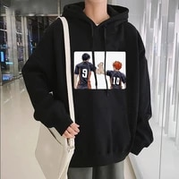 japanese anime haikyuu hinata shoyo and kageyama printing streetwear men harajuku cartoon karasuno high school funny hoodies