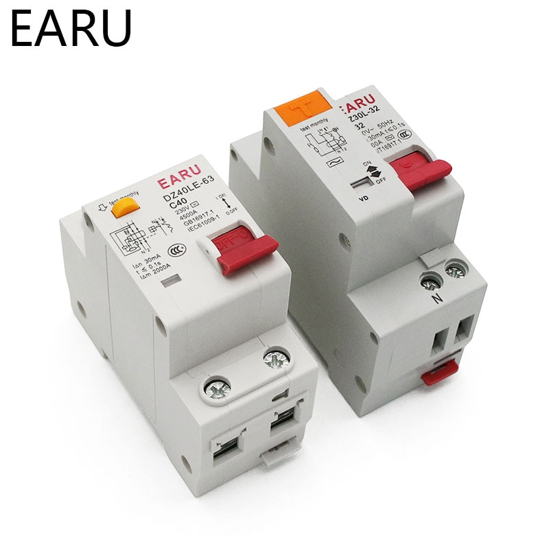 DZ30L DZ40LE EPNL DPNL 230 В 1P + N выключатель остаточного тока с защитой от перегрузки и короткого тока авкбо MCB 6-63A