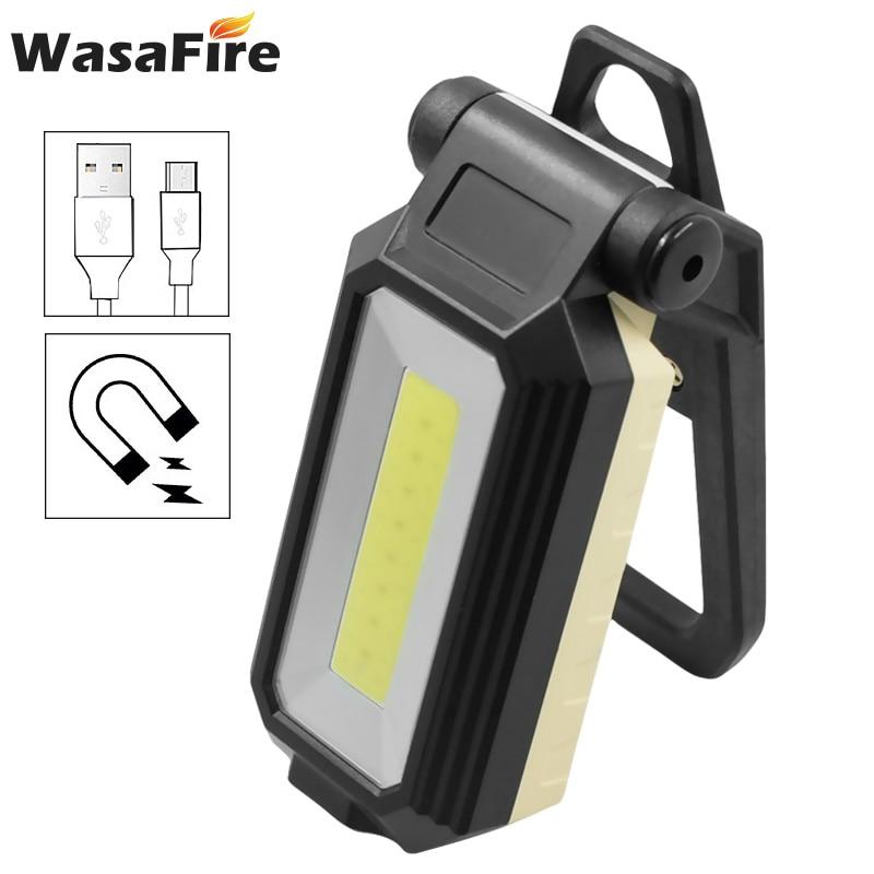 Linterna de trabajo LED COB plegable, Lámpara de trabajo recargable USB, lámpara de inspección magnética, luces de emergencia de Camping para reparación de coches