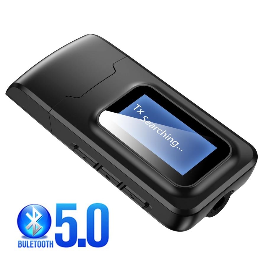 Receptor y transmisor Bluetooth 5,0 actualizado pantalla LCD 3,5mm AUX estéreo USB Adaptador de Audio inalámbrico para PC TV auriculares Coche