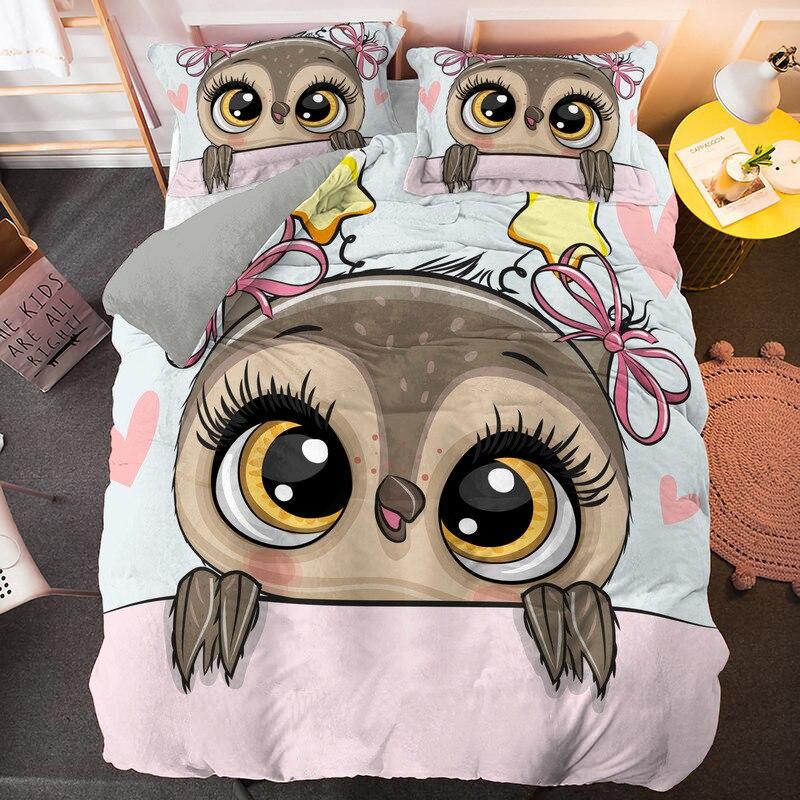الكرتون Kawaii البومة طقم سرير 2/3 قطعة حاف الغطاء سادات للفتيات الفتيان أغطية لحاف مريحة مجموعات