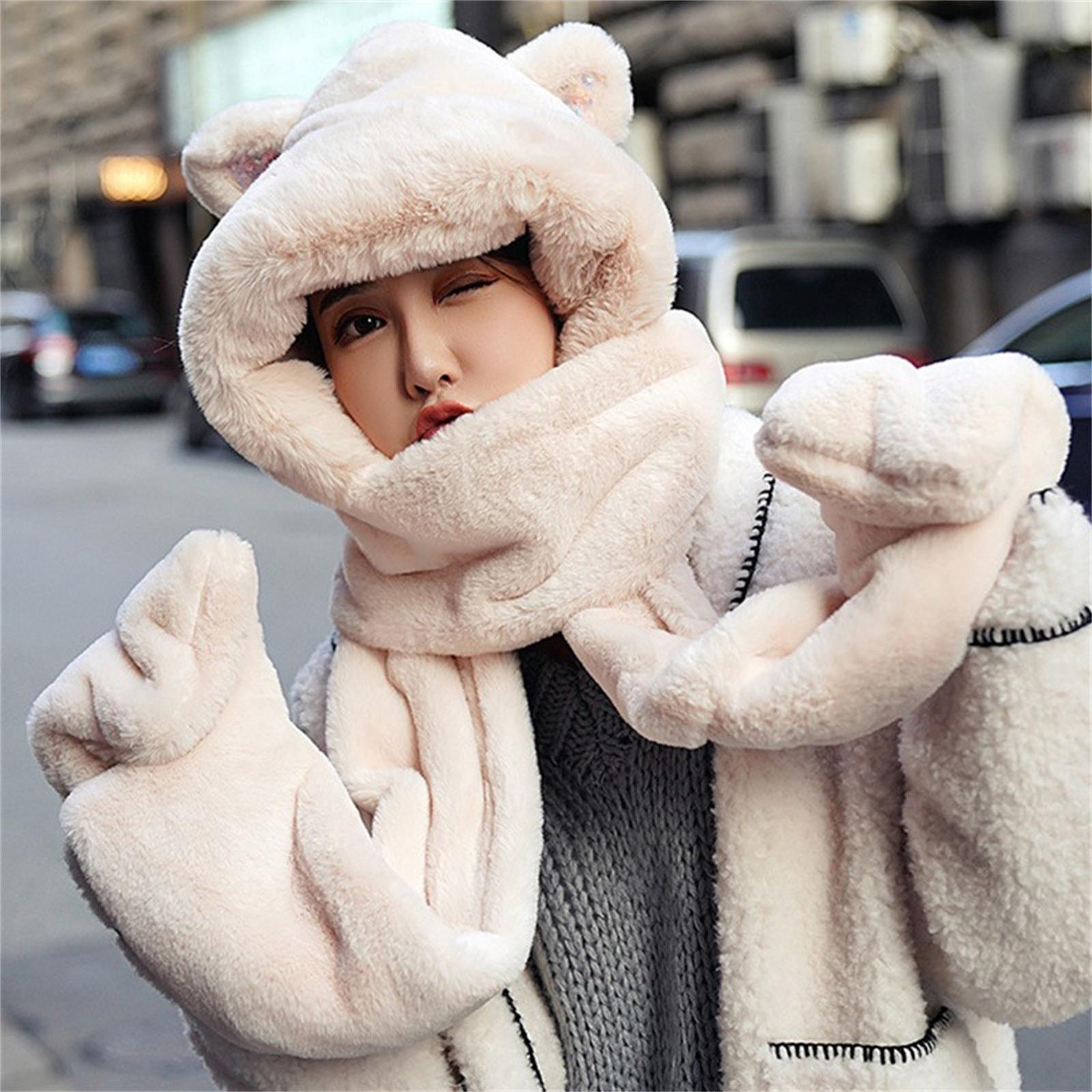 Cartoon Bear Ear Scarf Protection Hat Women Autumn Winter Furry Cute Plush Scarf Hooded Korean Versi