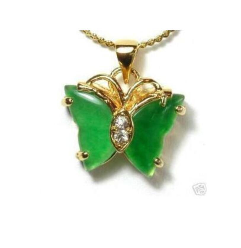 Pingente & colar de borboleta de jade verde chinês