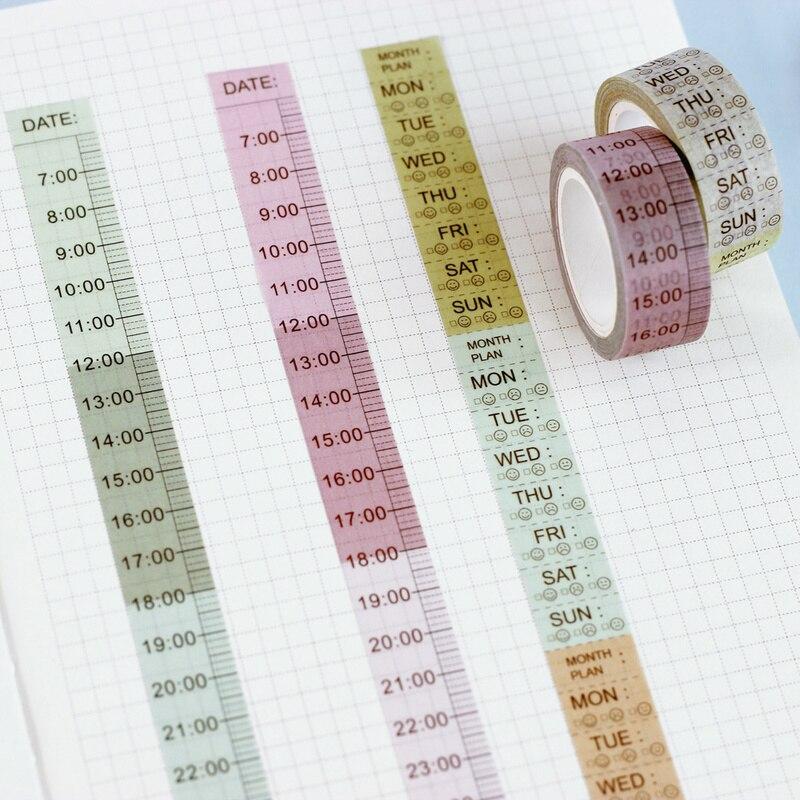 Planificador semanal de cinta Washi Timeline, agenda, cuaderno y cinta de papel, adhesivos decorativos, pegatinas de línea divisoria DIY