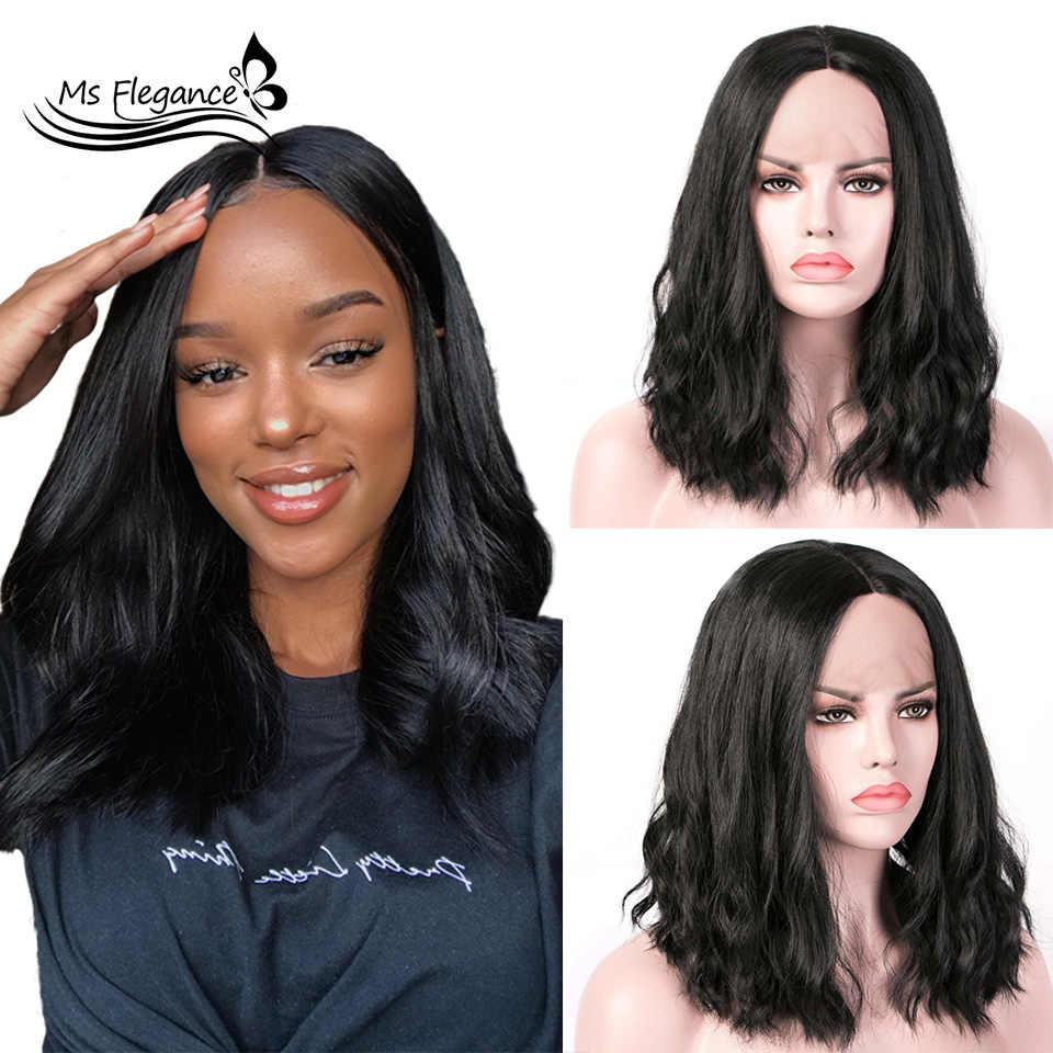 Ms Flegance Synthetic Lace Wigs For Black Women Water Wave Hair 16 In Short Bob Wigs Heat Resistant Fiber Wig Daily Party Synthetic Lace Wigs Aliexpress