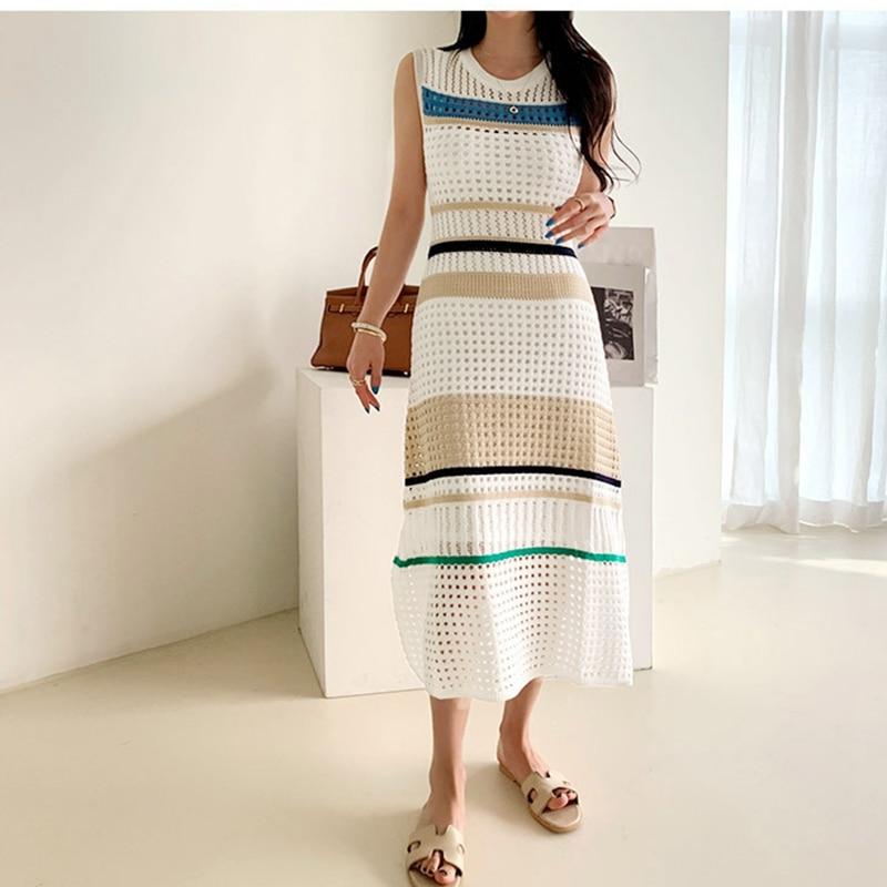 2020 novo verão kintting vestido feminino doce elegante o-pescoço vestido de tanque do vintage cintura alta a linha hit color vestido com colete de malha