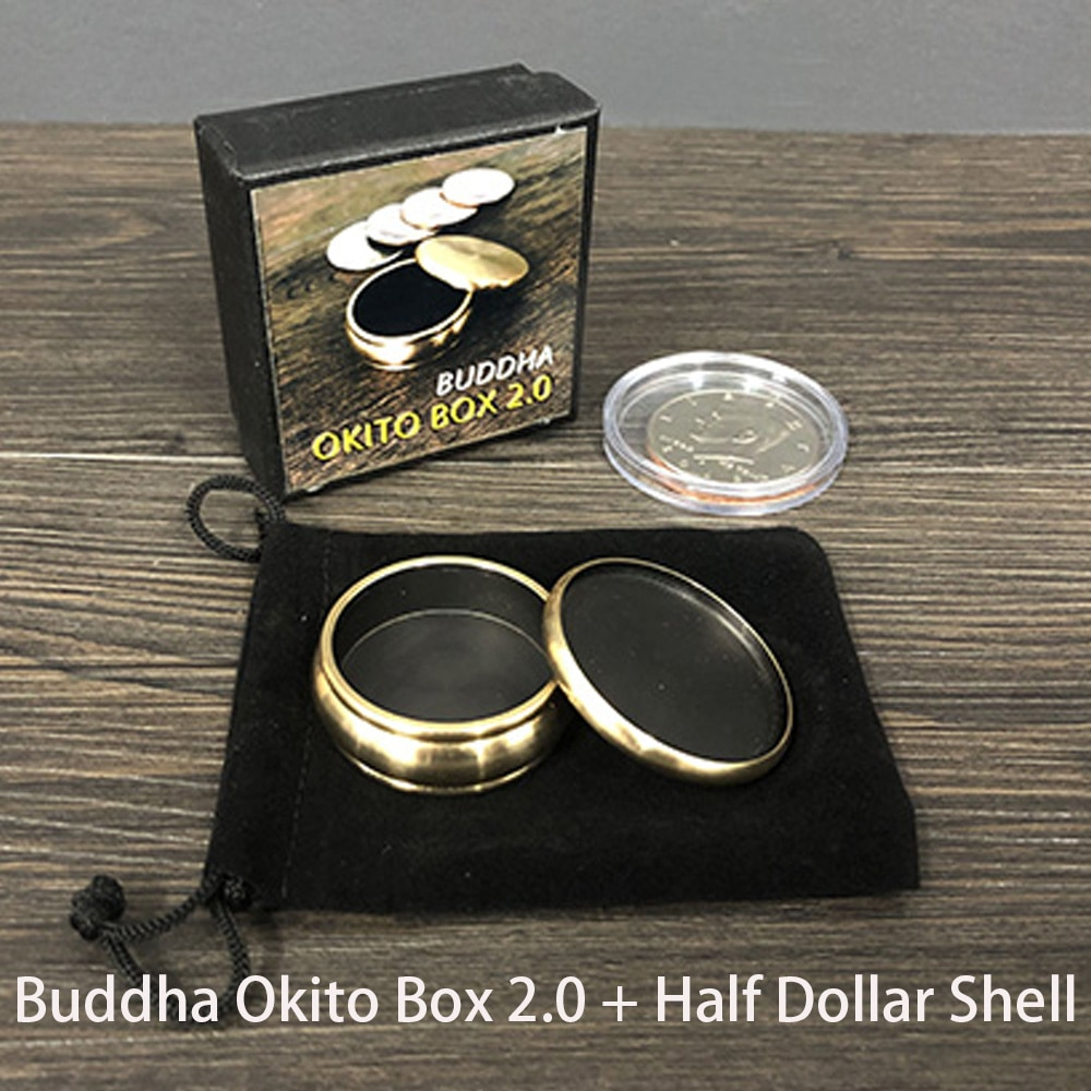 Buddha Okito Box 2.0 + Half Dollar Shell Magic Tricks Stage Close Up Magia Coin Appear Penetrate Magie Illusion Gimmick Props digital dissolve morgan version magic tricks stage close up magie coin visually change magie gimmick props trucos de magia
