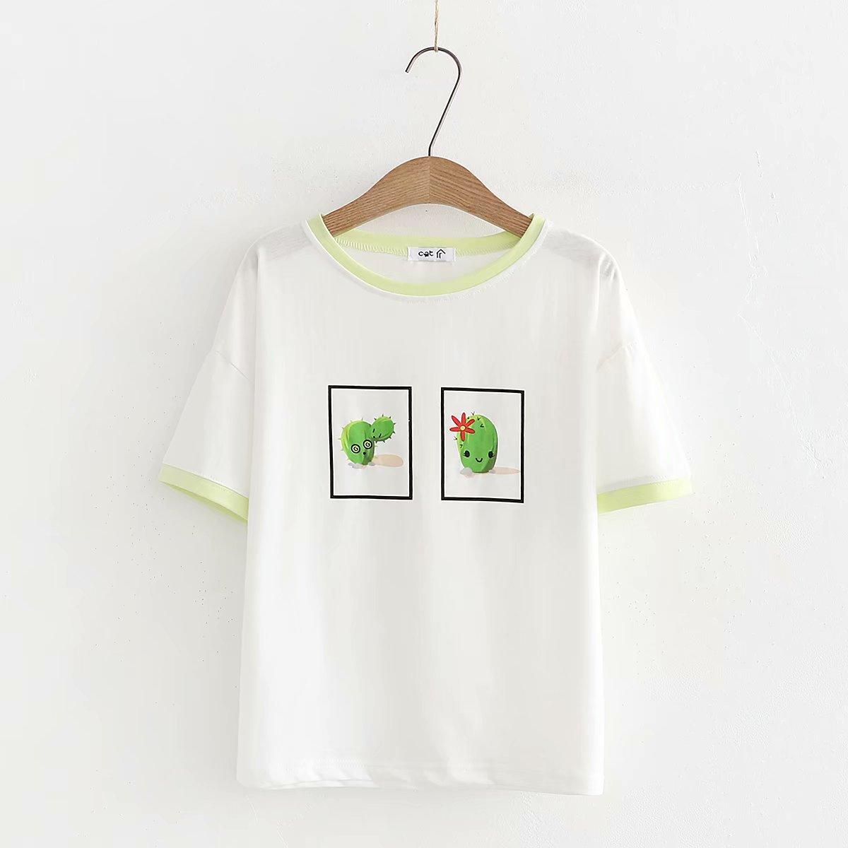 Camisetas verano camiseta mujer Color pantalón corto Casual manga cuello redondo Camiseta femenina