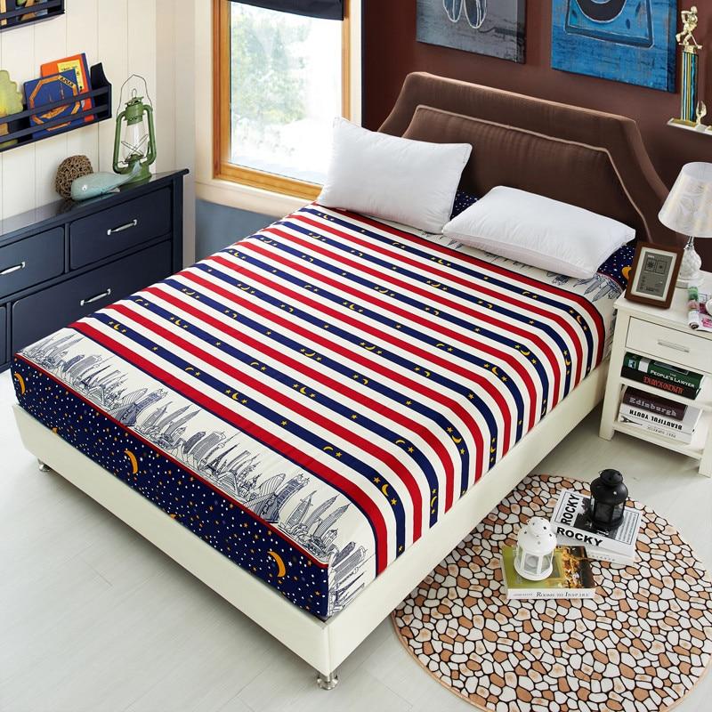 Sábana de cama, sábana ajustada con estampado geométrico, con elástico, ropa de cama, fundas de colchón de poliéster, juego de cama