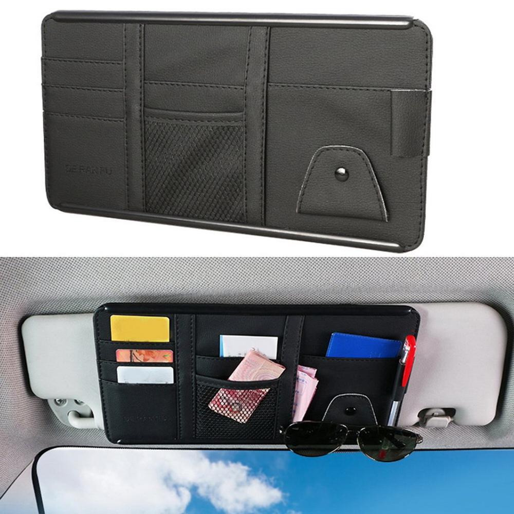 Viseira de sol do carro couro titular do cartão armazenamento saco organizador bolso automóveis acessórios interiores alta qualidade 1 pcs