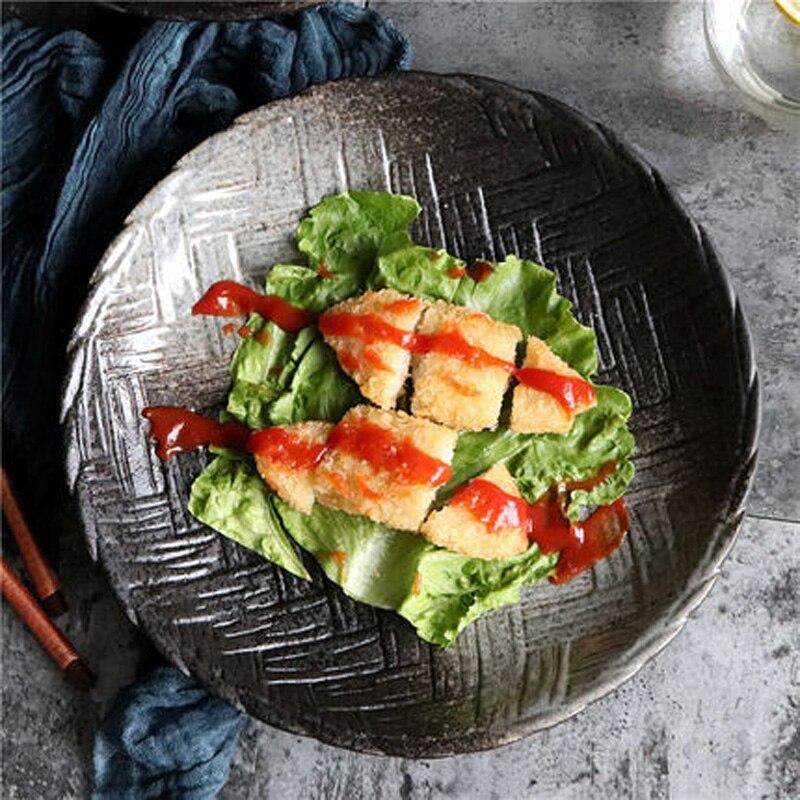 أدوات مائدة سيراميك على الطريقة اليابانية ، طبق حساء ريترو أسود لؤلؤي ، طبق حلويات ياباني ، سوشي ، فندق