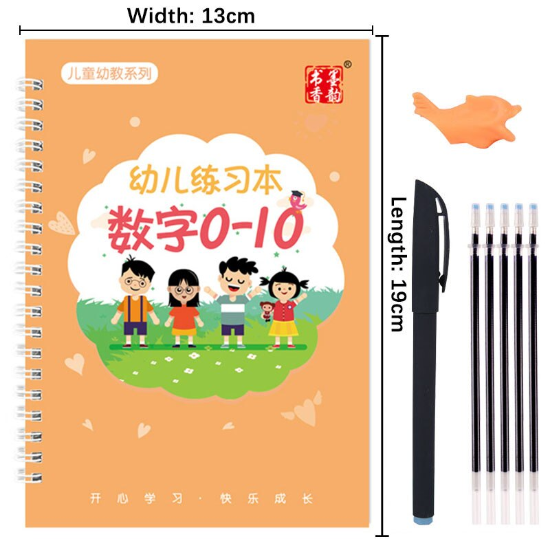 Reusable Children 3D Copybook For Calligraphy Numbers 0-10 Handwriting Books Learning Math Writing Practice Book For kids Toys enlarge