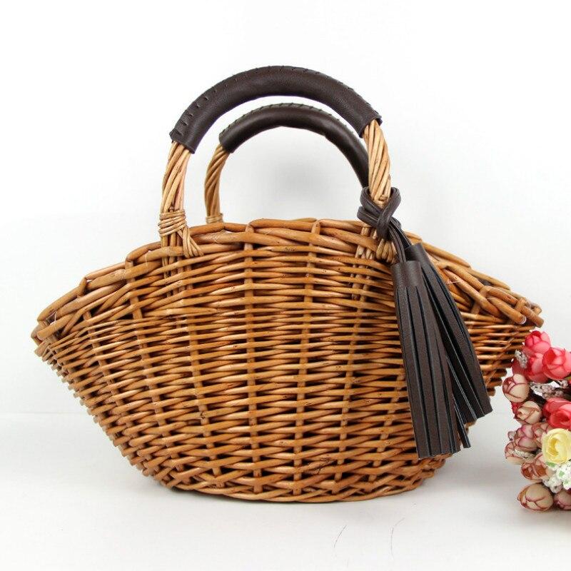 Clutch Bags Women Fashion Straw Handbag Shoulder Bag Shopping Beach Crossbody Bag Wood Handle Casual Large Capacity Tote Bag