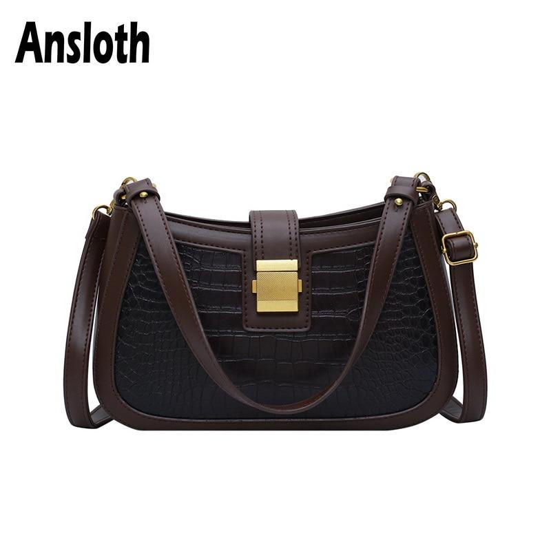 Ansloth Patchwork Handbags Women Bags Crocodile Designer Shoulder Bags Ladies Vintage Winter Bags Female Small Handbags HPS719