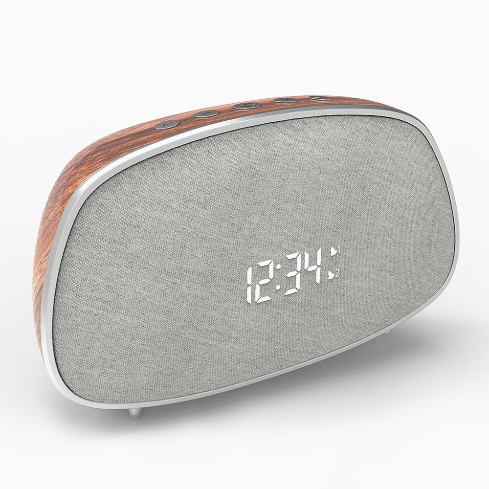Altavoz Bluetooth inalámbrico LED LOBKIN con Radio FM, reloj despertador Dual, pantalla portátil, altavoz inalámbrico para exteriores, manos libres