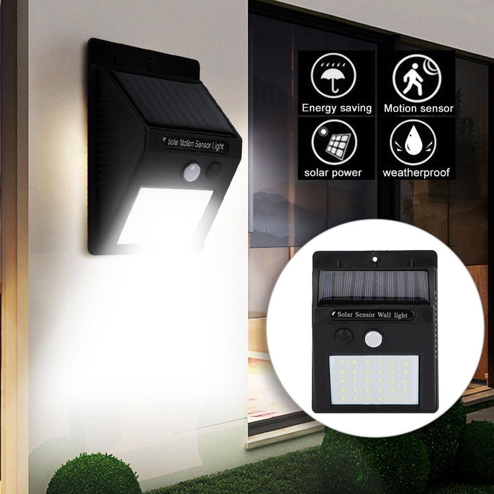 Farola LED Solar para valla de jardín de hogar Detección de Sensor de movimiento PIR lámparas de pared de Alta Luz LED inteligentes luz Solar a prueba de agua
