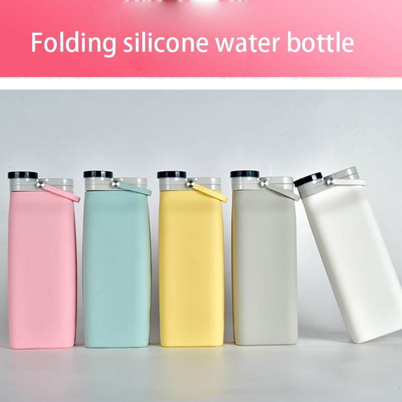 Folding Water Bottle Silicone Portable Travel Waterbottle with Handle Sports Fitness Cup BPA Free Ou