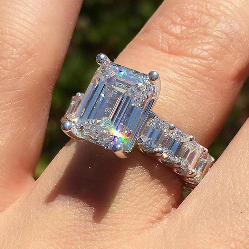 Женские квадратные кольца с геометрическим рисунком, обручальные кольца с цирконием в европейском стиле, ювелирные изделия, новинка 2019