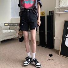 Black Denim Shorts Women's Pants High Waist Straight Pants Summer Loose Capris Wide Leg Pants