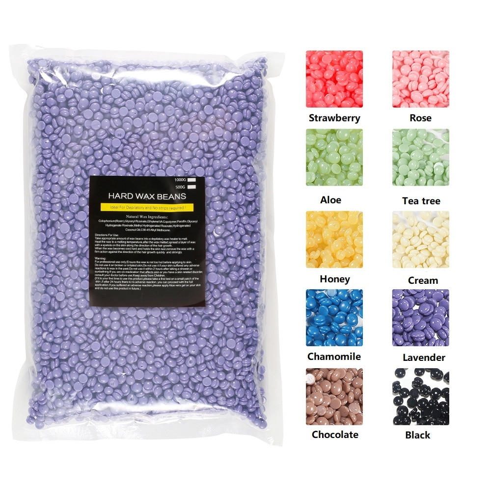1000g Wax Beans 10 Kinds Wax For Depilation Hair Removal Cream Bikini Body Leg Paper-free No Strip Depilatory Hard Wax Melter