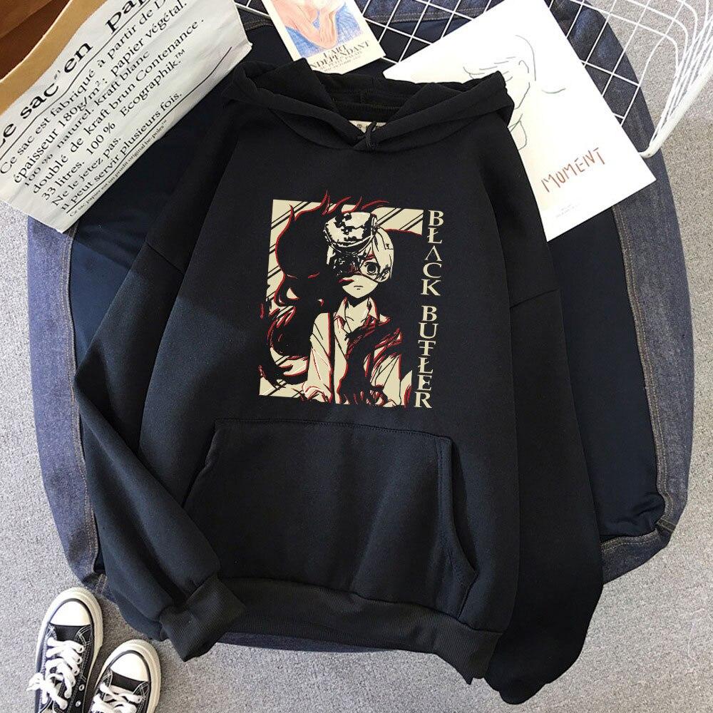 Creative Japanese Anime Pullover Black Butler Sebastian Ciel Phantomhive Long Sleeve Printed Hoodies Streetwear Harajuku Womens