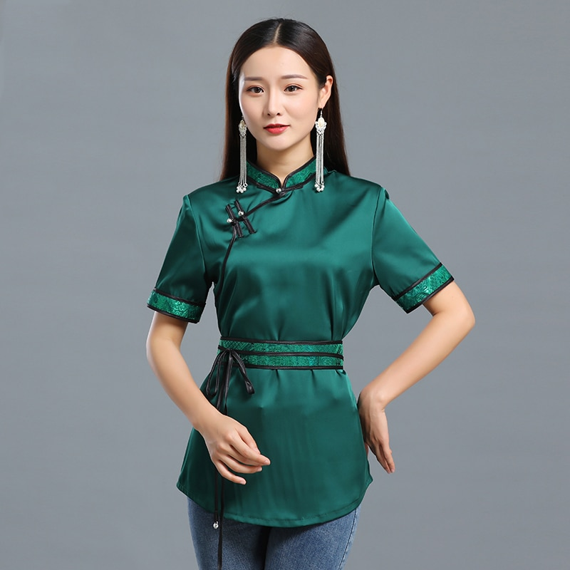 Summer Casual Female Top mongolian short sleeve shirt women tang suit style clothing Asia national vintage costume недорого