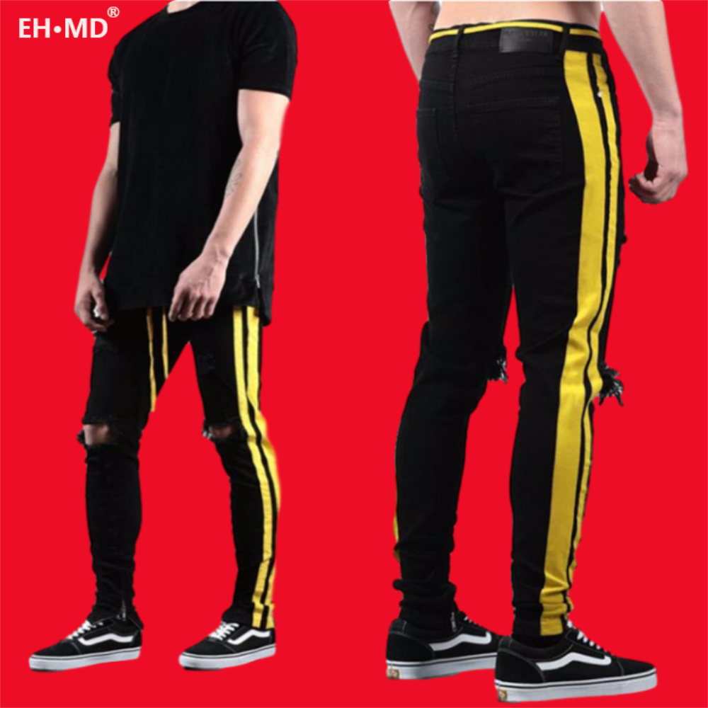 EH·MD® Bright Gold Double Striped Jeans Men's Drawstring Elastic Waist Knee Hole Hole Feet Pants Slim Reflective Skinny 2020 New