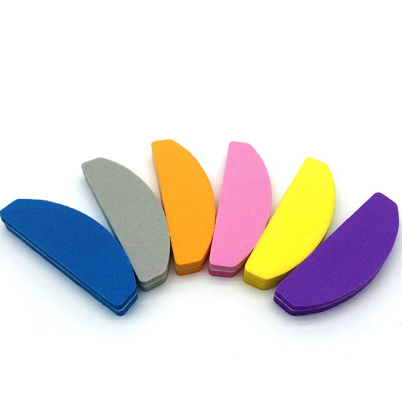 10 pçs colorido esponja arquivo de unhas para gel uv unha polonês unha arte manicure pedicure buffer mini meia lua lixa buffer