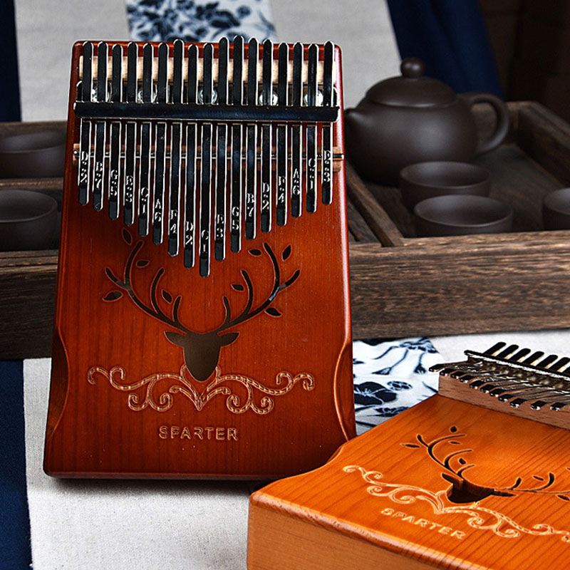Kalimba 17 Keys Thumb Paino Made By Single Board with Accessaries, Portable Mbira Sanza African Finger Piano Creative Music Box enlarge
