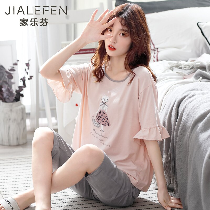 Pajamas Female Summer Cotton Short Sleeve Capri Pants Tracksuit Summer Thin Korean-style May Go out