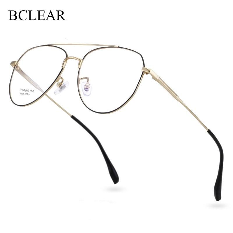 BCLEAR-إطارات النظارات ذات العلامات التجارية للرجال والنساء ، تصميم أدبي ، إطارات من التيتانيوم ، جسر مزدوج ، خفيف للغاية