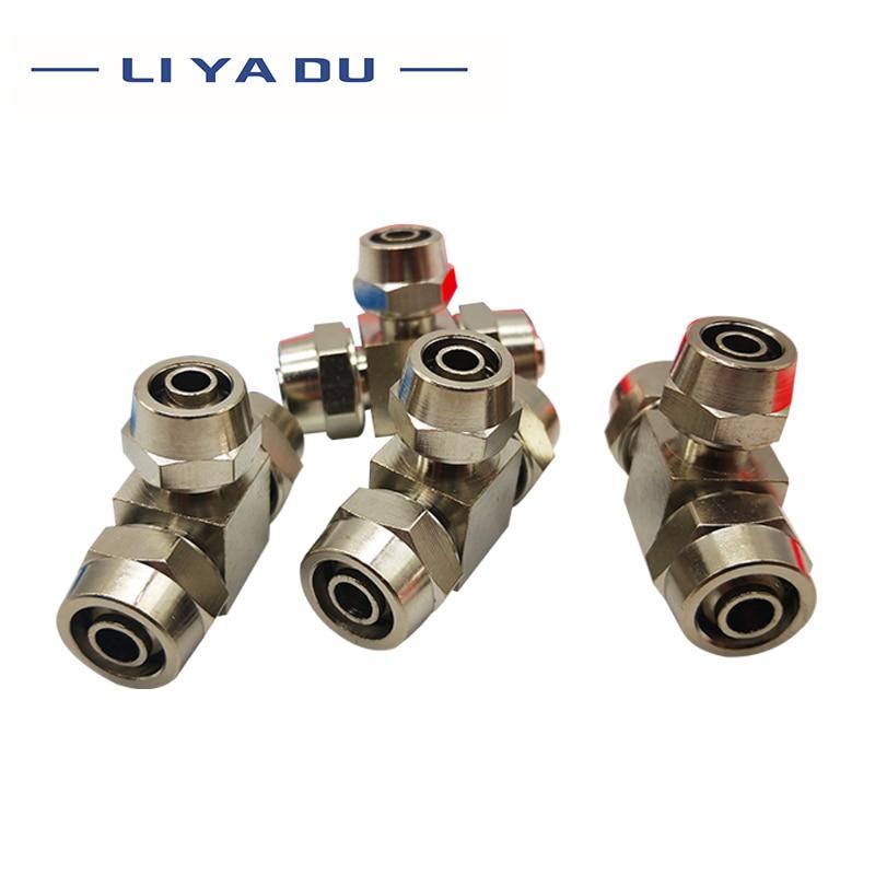 10 unids/lote PEG8-6-8 junta de giro rápido de tres vías de diámetro variable junta de tubería neumática PEN8-6-8 Ajuste rápido de manguera de PEG8-6Air