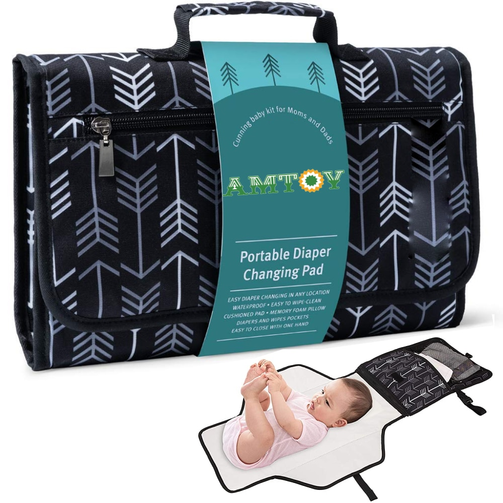 Portable Changing Pad for Baby Diaper Bag or Changing Table Pad One-Hand Diaper Change Pad Waterproof Changing Pad Diaper Travel