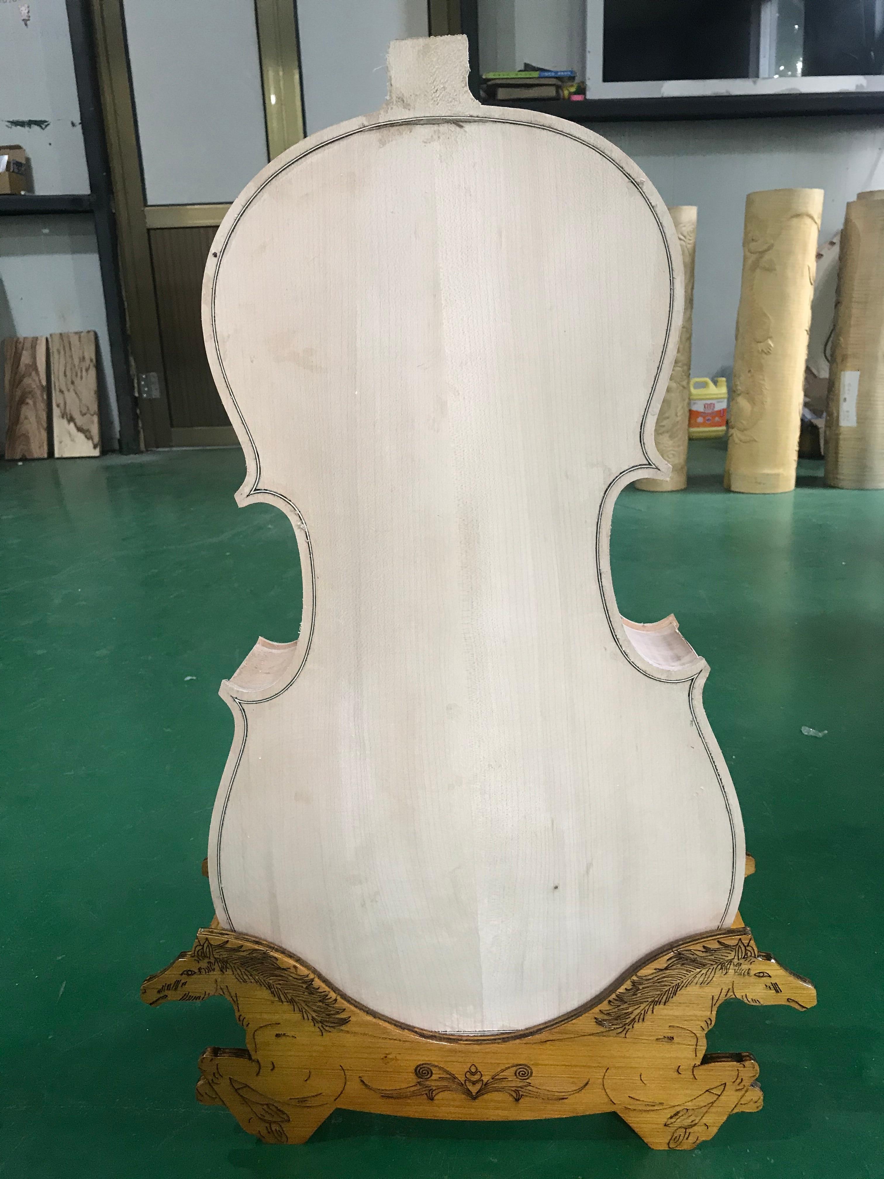 1 PCS Cello Body Handmade Unfinished Semi-finished 4/4 3/4 1/4 1/2 1/8 White Cello Body Without Neck Spruce Panel Maple Back enlarge