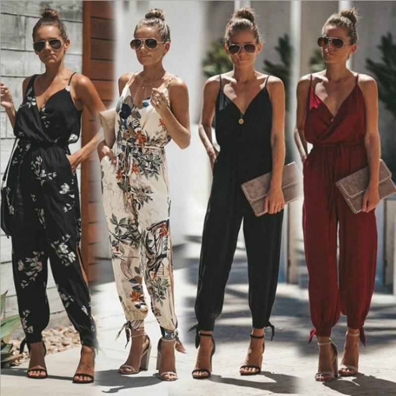 Summer Women Holiday Casual Sleeveless Jumpsuits Fashion Ladies Boho Floral Bodysuit Wide Leg LooseP