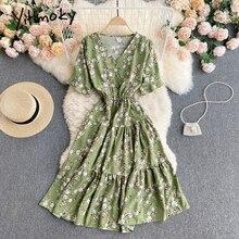 Yitimoky Floral Print High Waist Ruffles Dresses Women Breasted Short Sleeve V-Neck A-Line Clothing