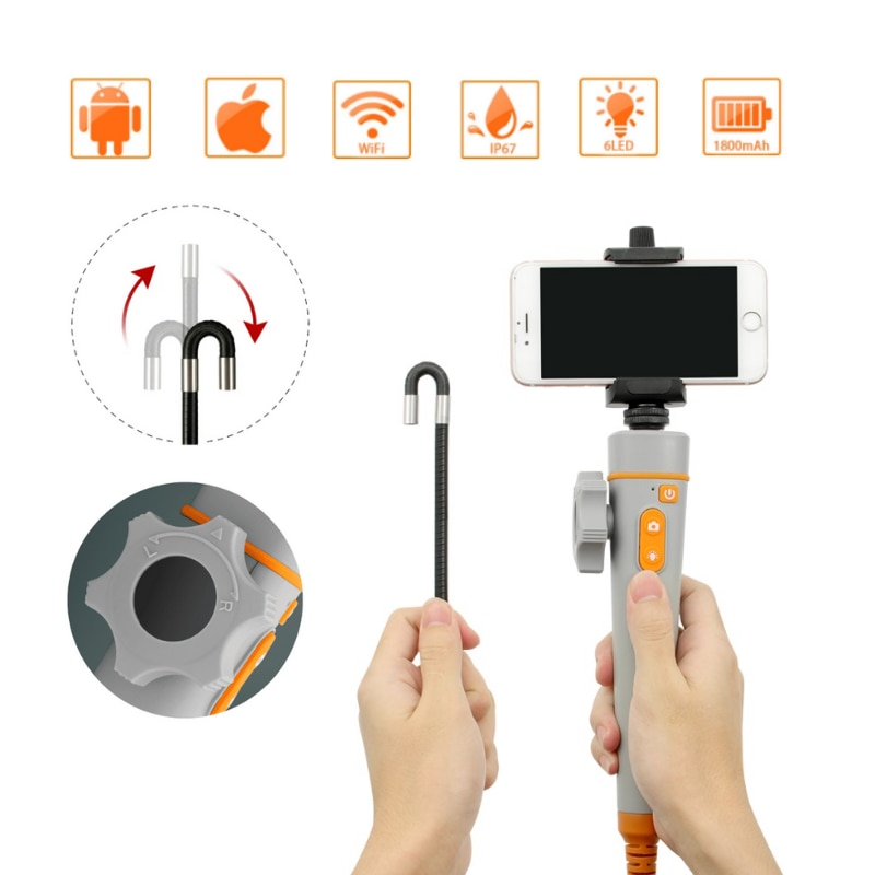 Get 8MM 1080P WIFI 360° Steering Industrial Video Endoscope Camera Wireless Car Sewer Drain Inspection Borescope for Android Iphone