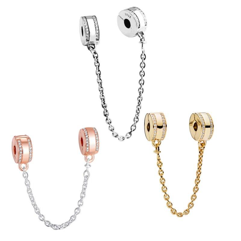 3 ألوان واضح تشيكوسلوفاكيا توقيع كليب الخرز ل أساور Charms DIY بها بنفسك سلسلة أمان خرز تميمة لصنع المجوهرات الفضة 925 مجوهرات