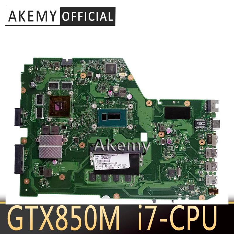 Akemy X751LK материнская плата i7-4510 GTX850M/2 ГБ для ASUS X751L X751LK X751LX материнская плата для ноутбука X751LK материнская плата X751LK материнская плата