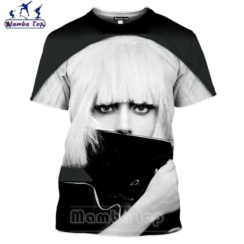3D Print Sexy Singer Men Tshirt Fashion Lady Gaga T Shirt Mens T-shirts Casual Unisex Sportswear Women Tees Tops Pullover E00 3
