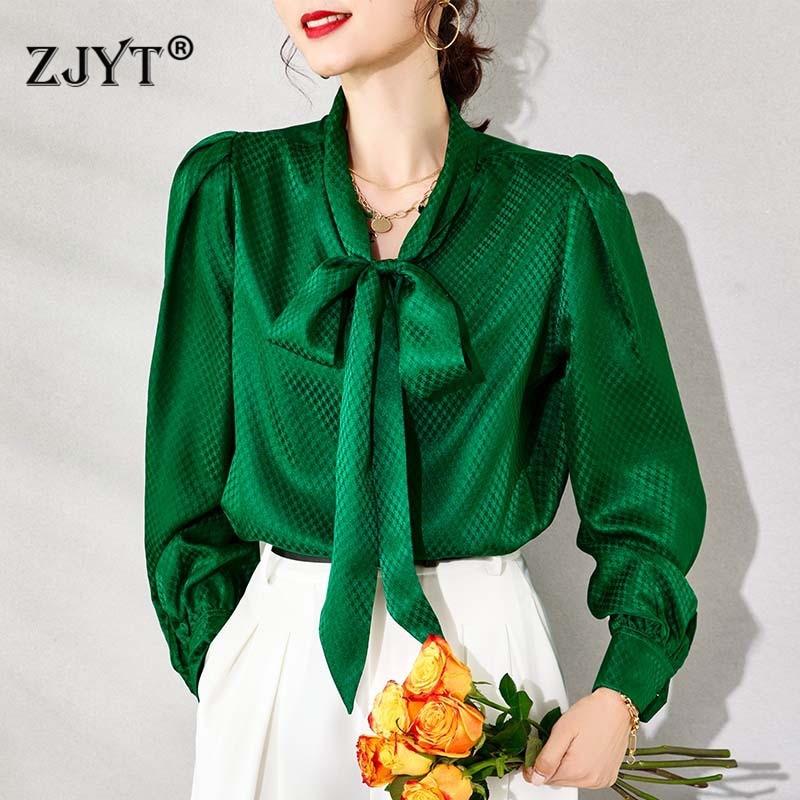 2021 Spring Designers Luxury 100% Real Silk Blouses Women Long Sleeve Elegant Bow Collar Office Shirt Feminino Blusas Party Tops