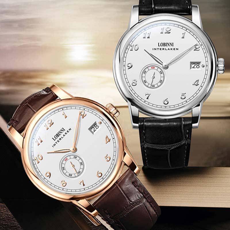 Lobinni سويسرا العلامة التجارية الفاخرة 2021 منتجات جديدة ساعة رجالي صغيرة الدوار ساعة يد تعمل بالحركة فائقة رقيقة التلقائي ساعة ميكانيكية